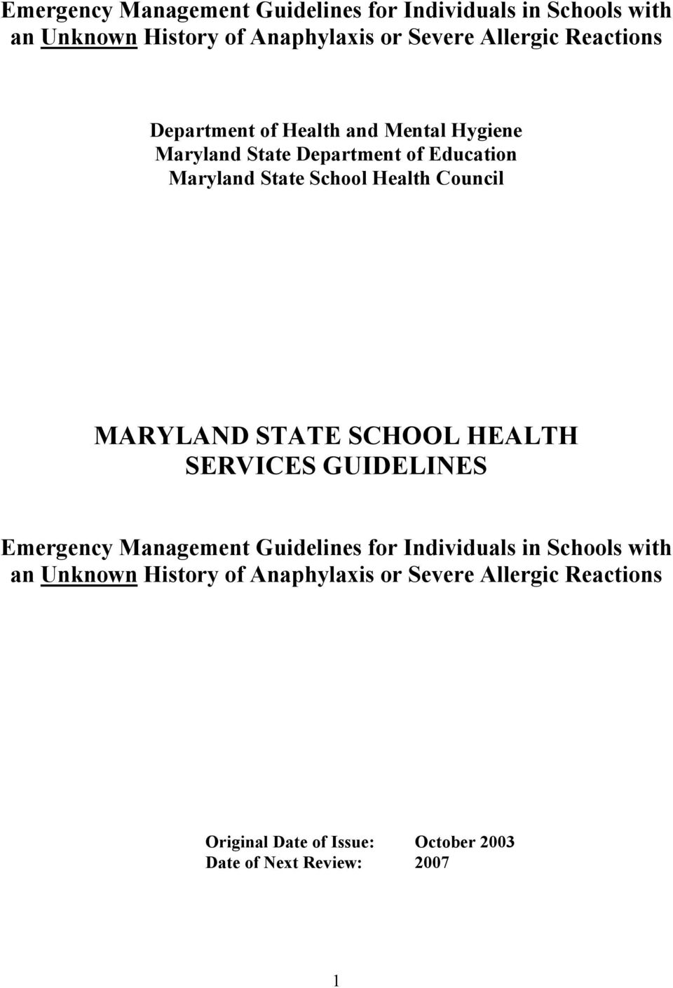 HEALTH SERVICES GUIDELINES Emergency Management Guidelines for