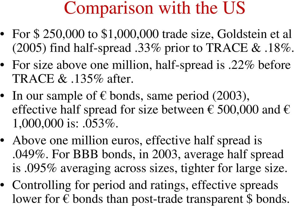 In our sample of bonds, same period (2003), effective half spread for size between 500,000 and 1,000,000 is:.053%.