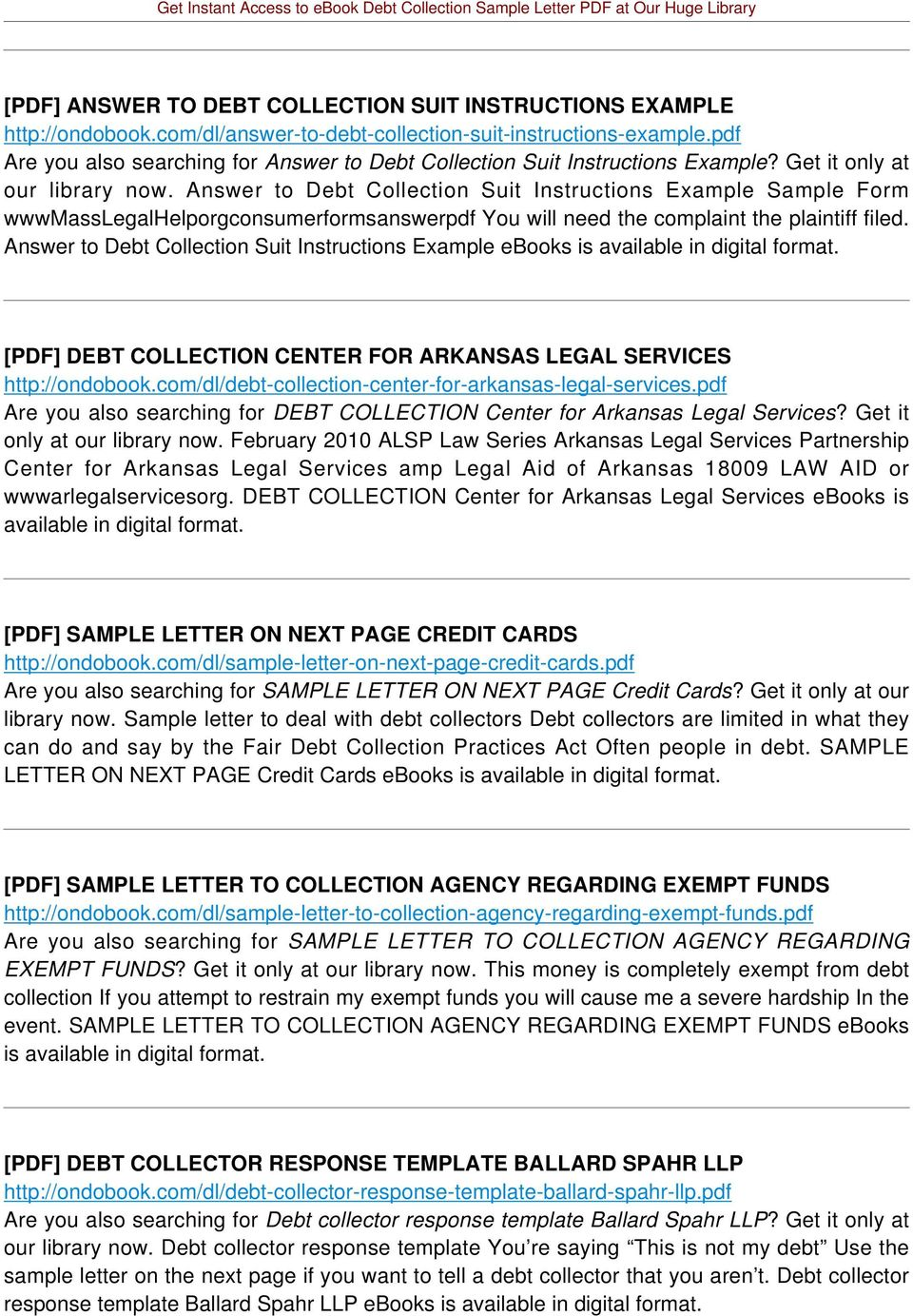 Answer to Debt Collection Suit Instructions Example Sample Form wwwmasslegalhelporgconsumerformsanswerpdf You will need the complaint the plaintiff filed.