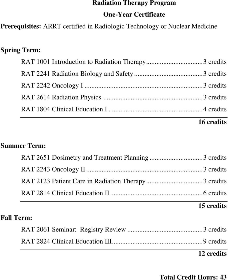 .. 4 credits 16 credits Summer Term: RAT 2651 Dosimetry and Treatment Planning... 3 credits RAT 2243 Oncology II... 3 credits RAT 2123 Patient Care in Radiation Therapy.