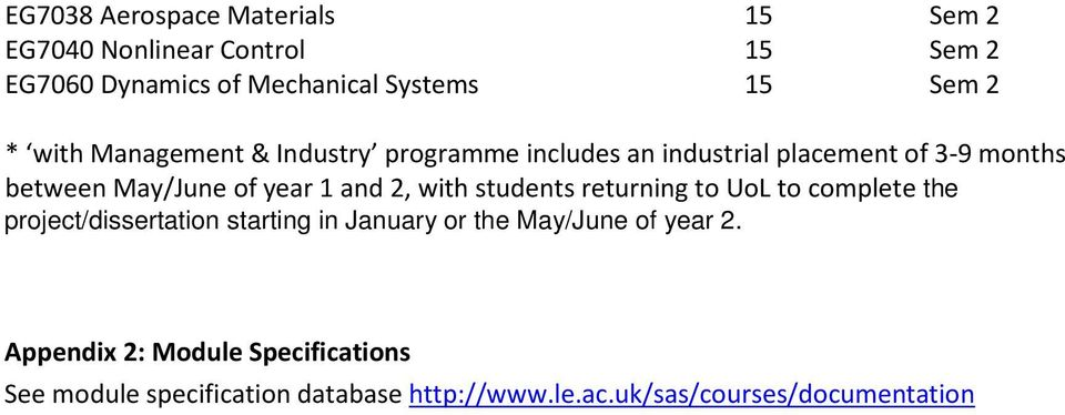 2, with students returning to UoL to complete the project/dissertation starting in January or the May/June of year 2.