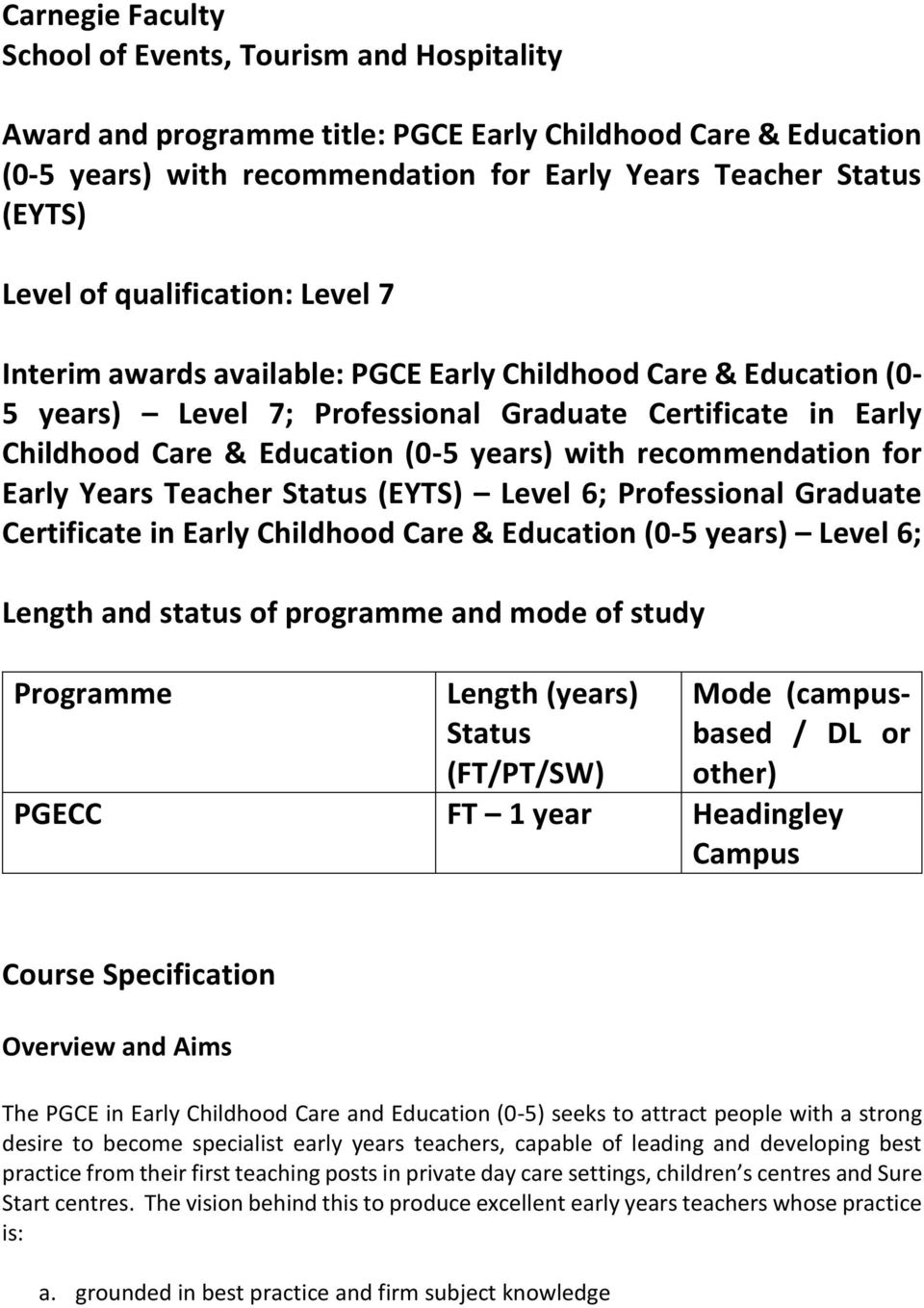 recommendation for Early Years Teacher Status (EYTS) Level 6; Professional Graduate Certificate in Early Childhood Care & Education (0-5 years) Level 6; Length and status of programme and mode of
