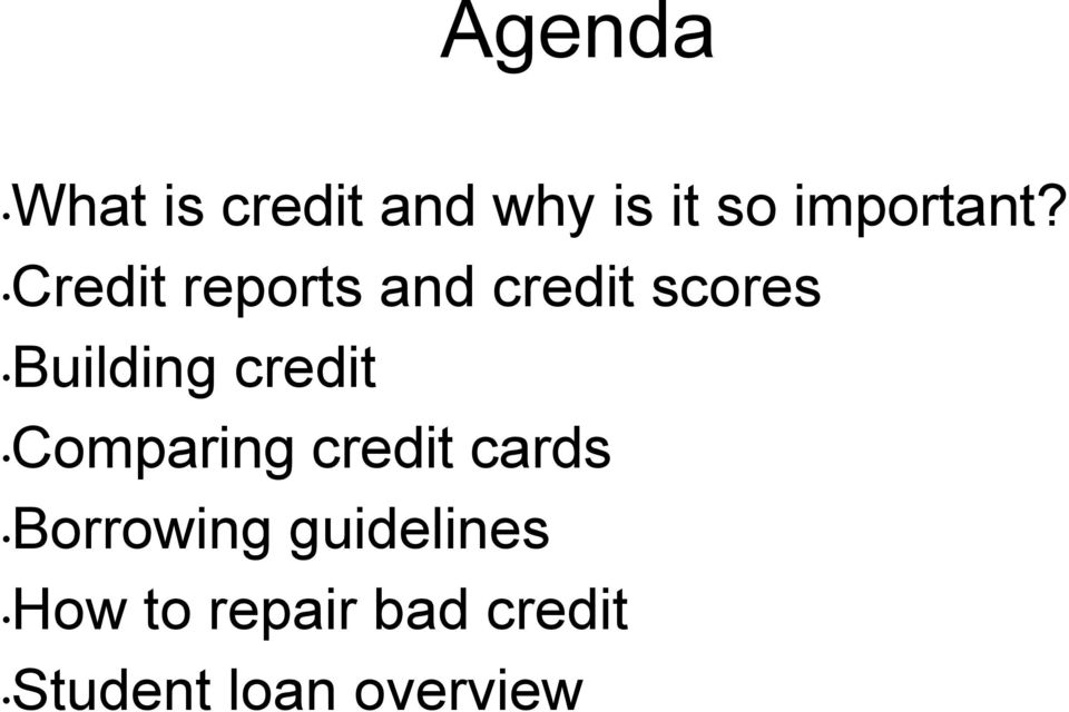 Credit reports and credit scores Building