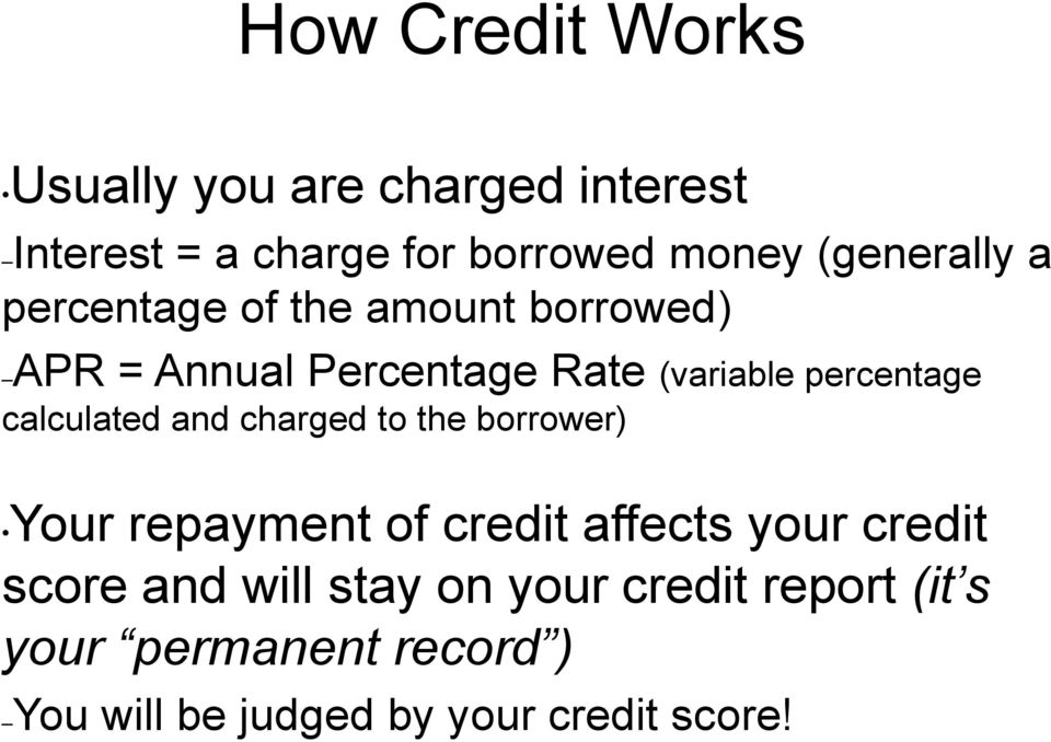 percentage calculated and charged to the borrower) Your repayment of credit affects your credit