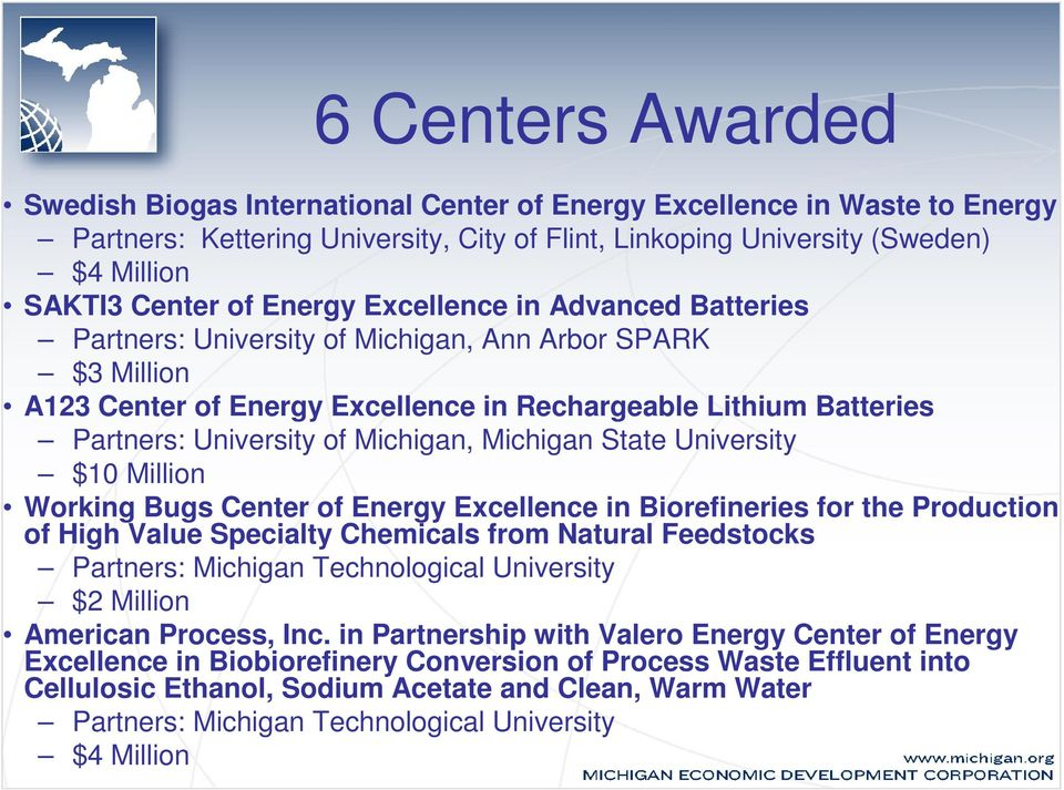 Michigan, Michigan State University $10 Million Working Bugs Center of Energy Excellence in Biorefineries for the Production of High Value Specialty Chemicals from Natural Feedstocks Partners: