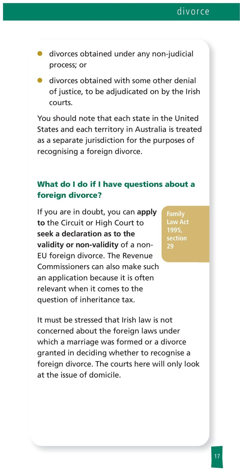 What do I do if I have questions about a foreign divorce?