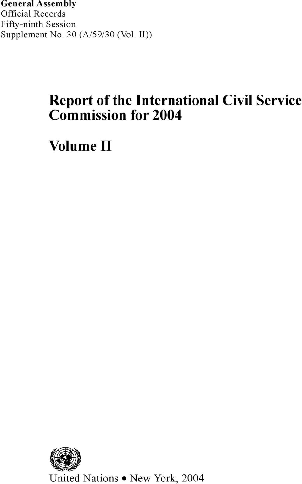 II)) Report of the International Civil Service