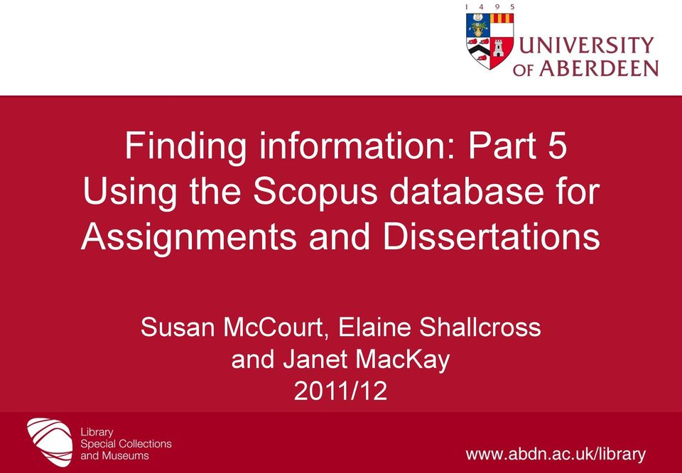 and Dissertations Susan McCourt,