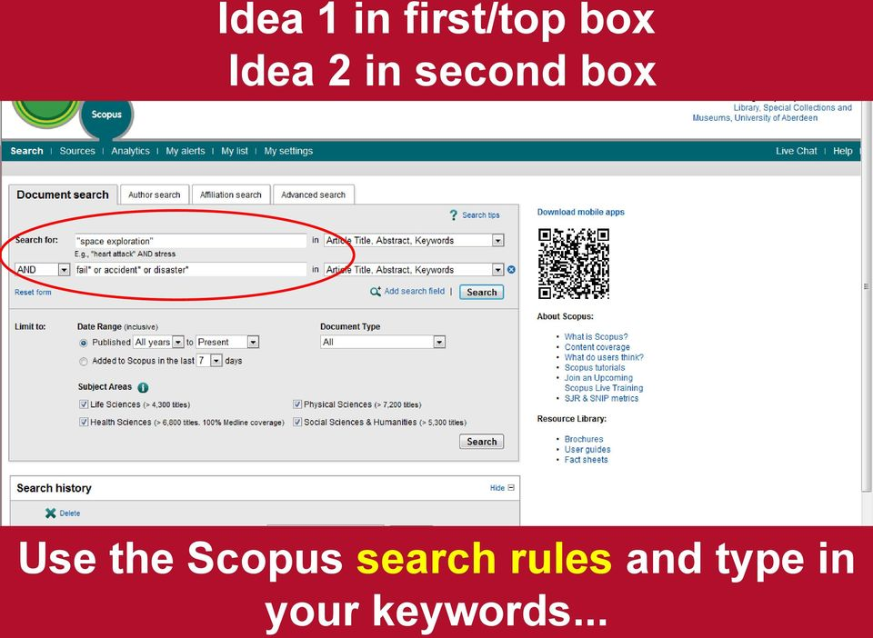 the Scopus search rules