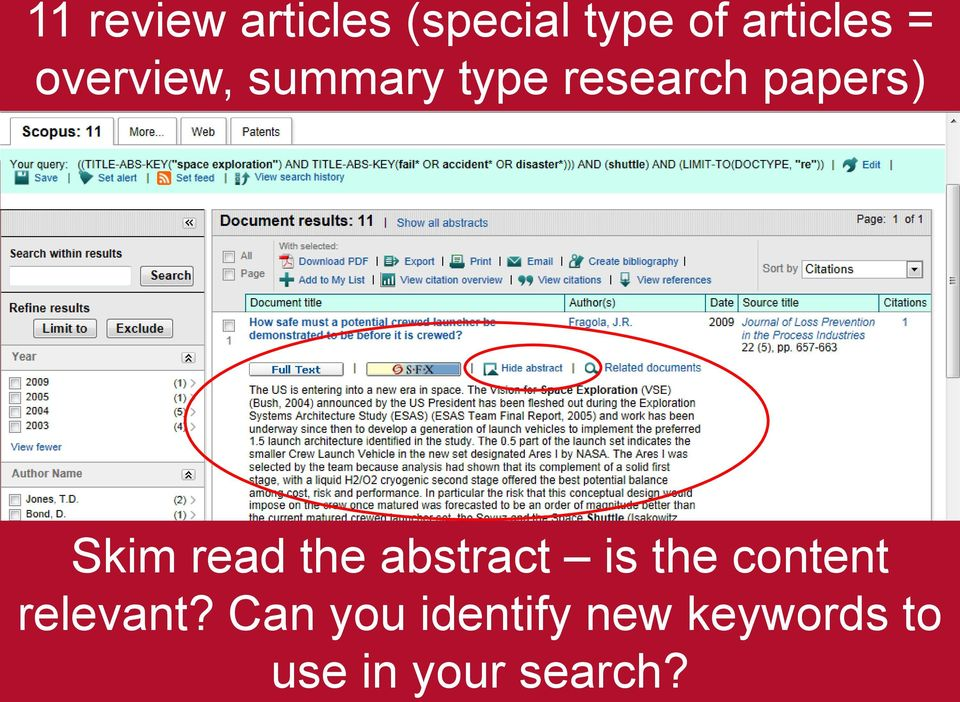 read the abstract is the content relevant?