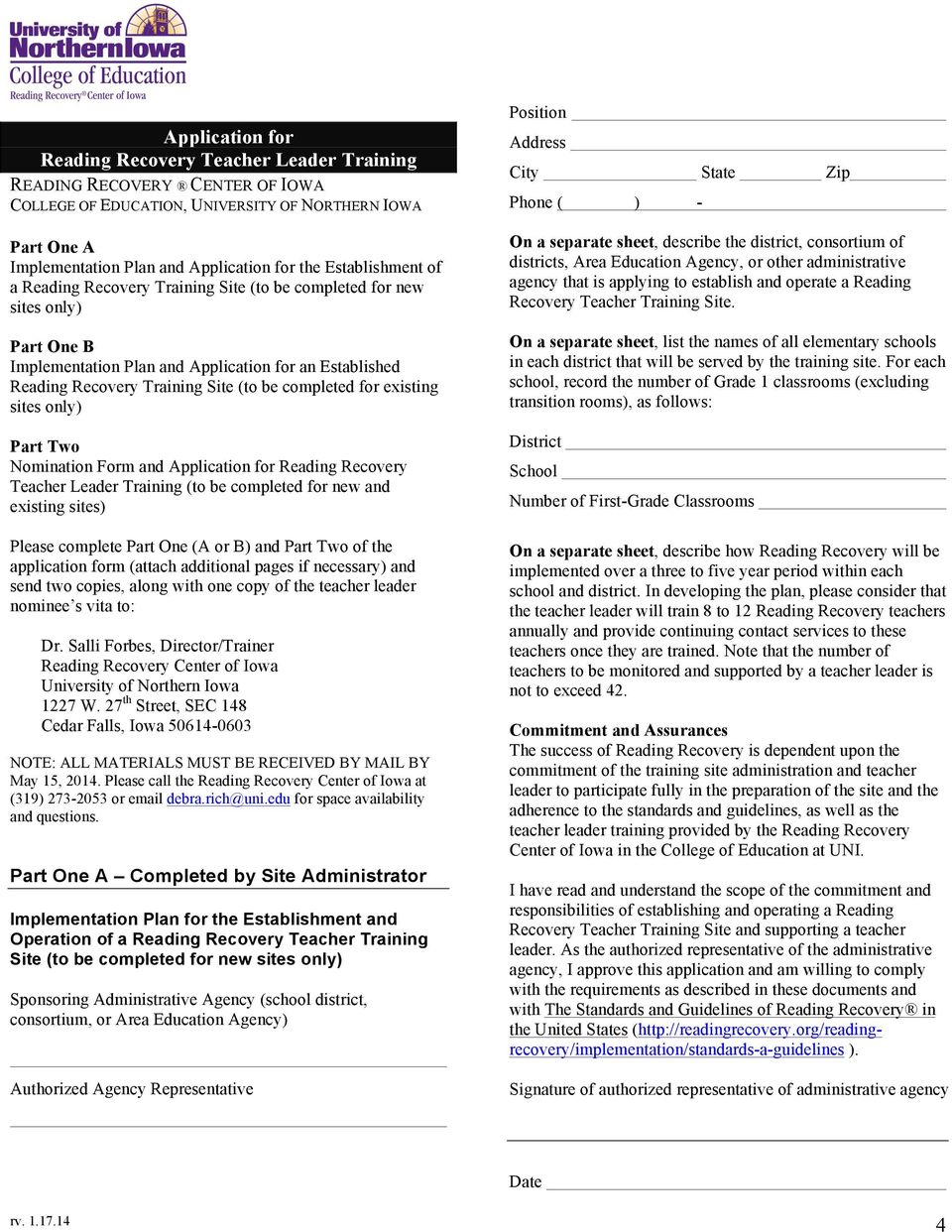 Reading Recovery Teacher Leader Training Application