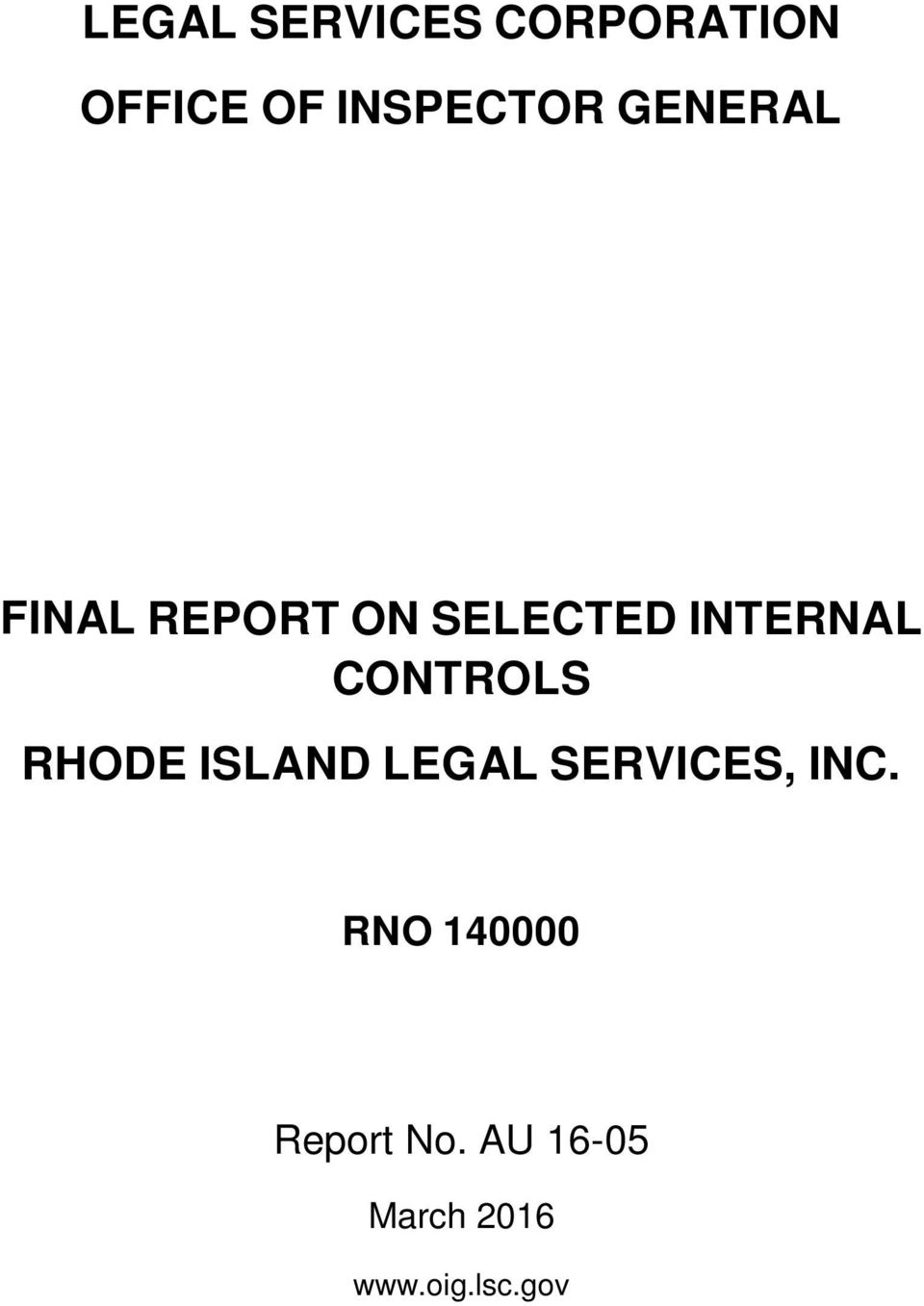 CONTROLS RHODE ISLAND LEGAL SERVICES, INC.