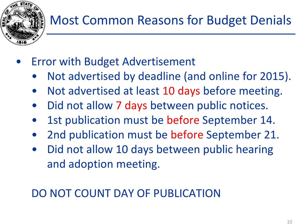 Did not allow 7 days between public notices. 1st publication must be before September 14.