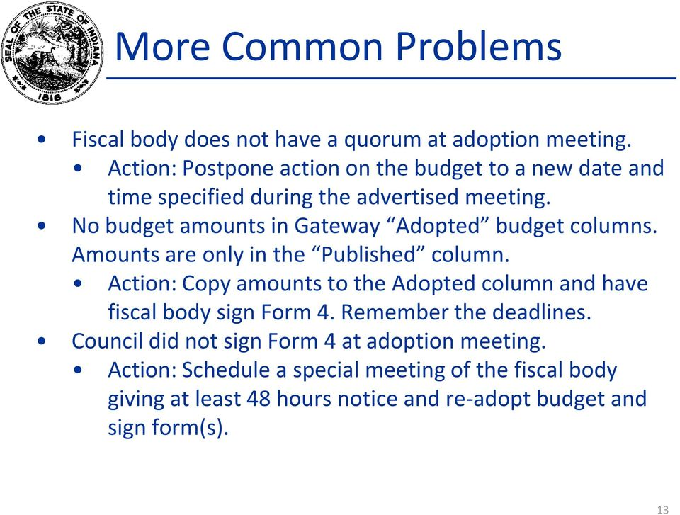 No budget amounts in Gateway Adopted budget columns. Amounts are only in the Published column.