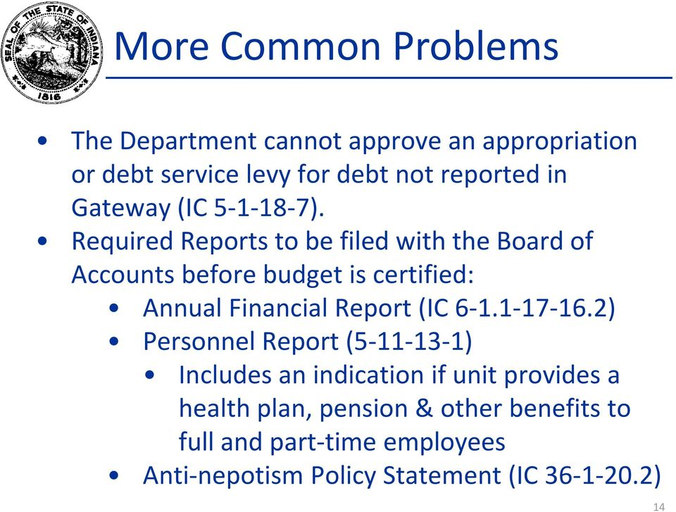 Required Reports to be filed with the Board of Accounts before budget is certified: Annual Financial Report (IC