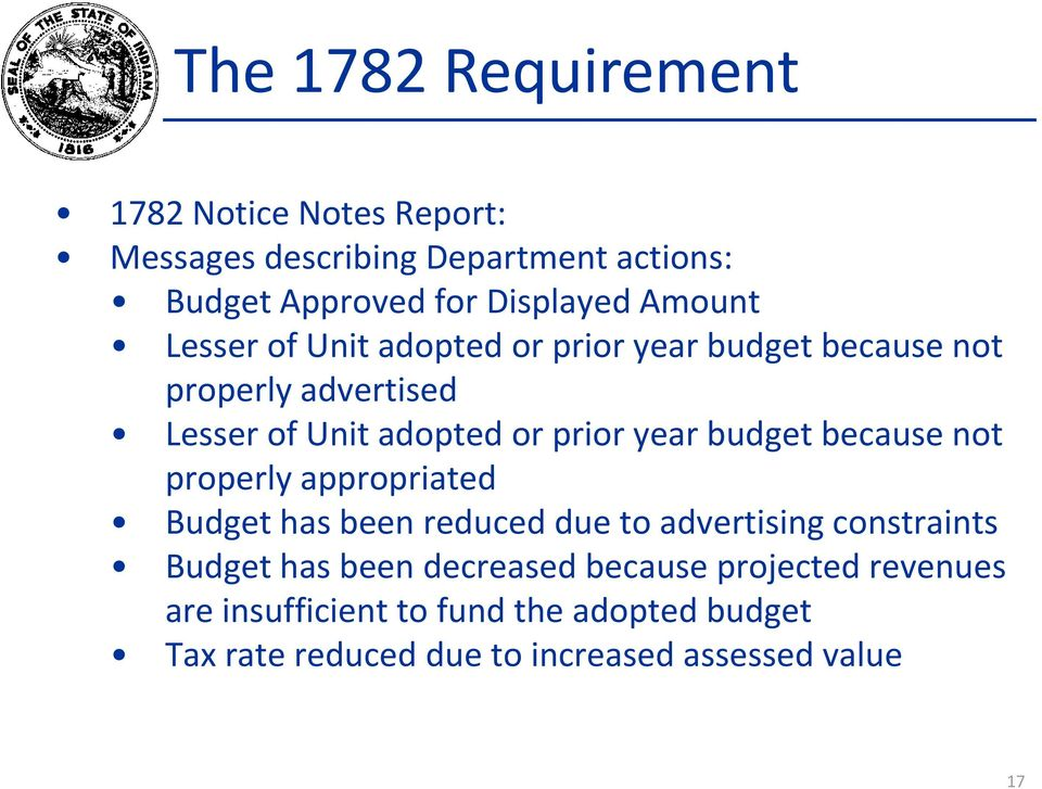 budget because not properly appropriated Budget has been reduced due to advertising constraints Budget has been