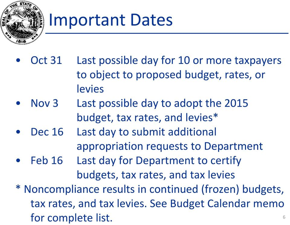 appropriation requests to Department Feb 16 Last day for Department to certify budgets, tax rates, and tax levies *