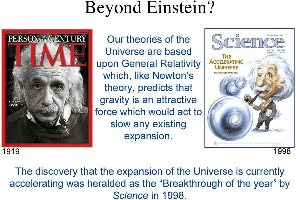 theory, predicts that gravity is an attractive force which would act to slow any