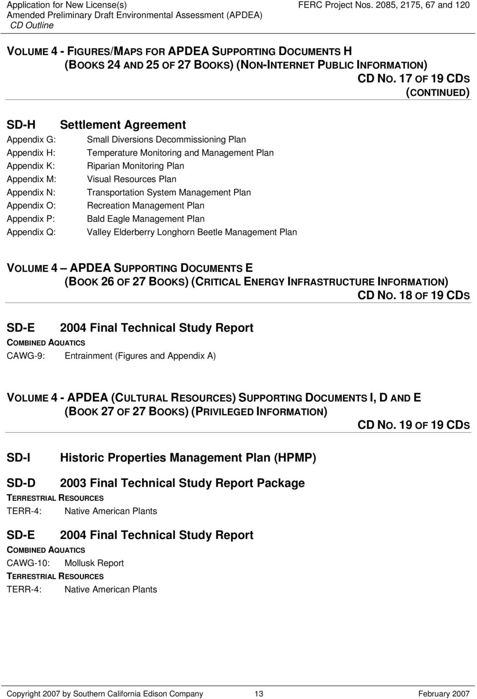 Appendix M: Visual Resources Plan Appendix N: Transportation System Management Plan Appendix O: Recreation Management Plan Appendix P: Bald Eagle Management Plan Appendix Q: Valley Elderberry