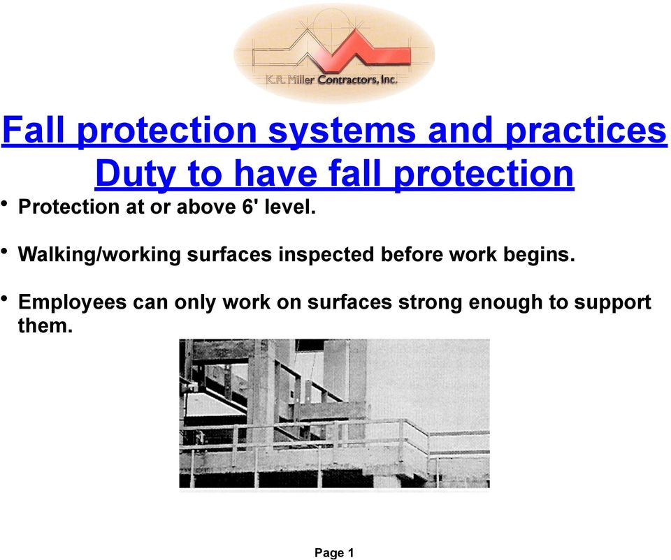 Walking/working surfaces inspected before work