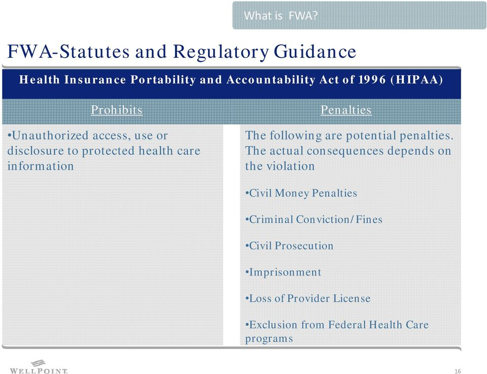 Prohibits Unauthorized access, use or disclosure to protected health care information Penalties The following