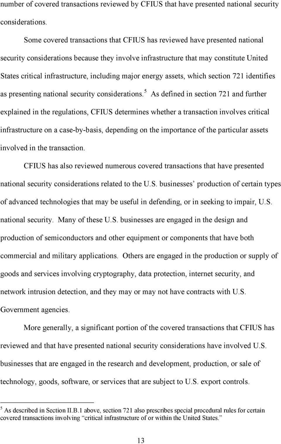 including major energy assets, which section 721 identifies as presenting national security considerations.