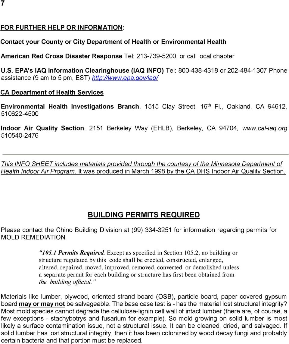 gov/iaq/ CA Department of Health Services Environmental Health Investigations Branch, 1515 Clay Street, 16 th Fl.