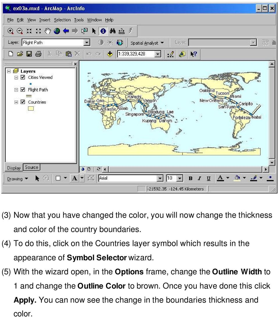 (5) With the wizard open, in the Options frame, change the Outline Width to 1 and change the Outline Color to