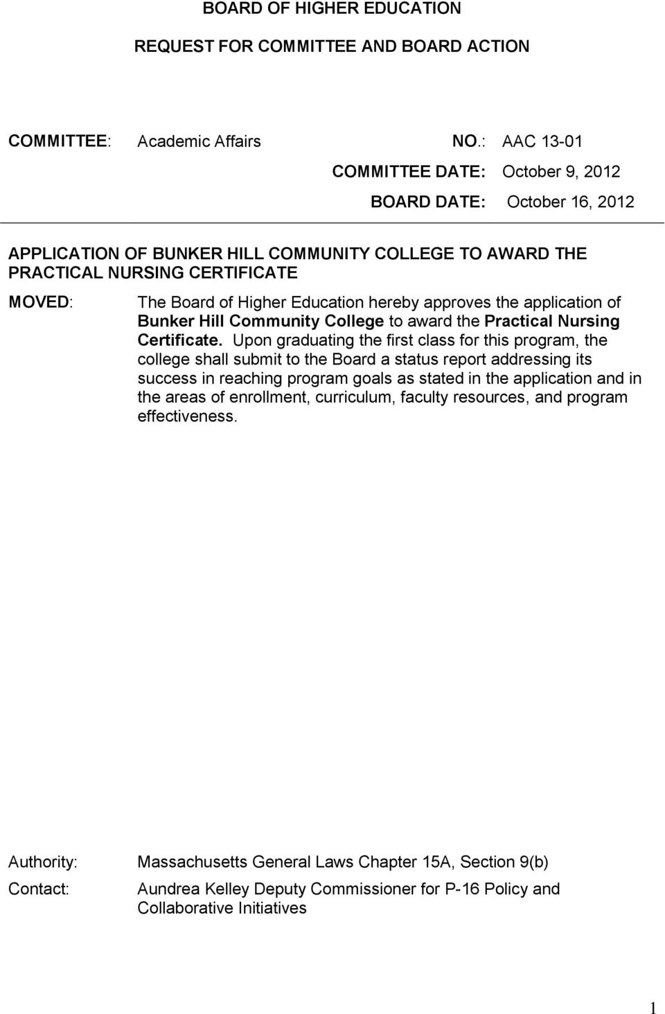 hereby approves the application of Bunker Hill Community College to award the Practical Nursing Certificate.