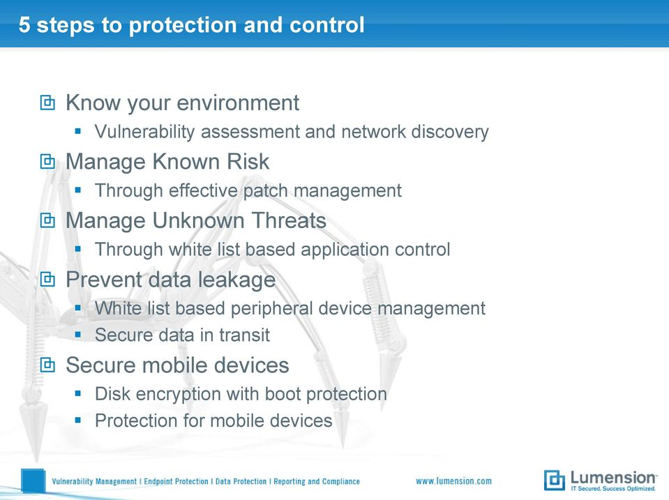 list based application control Prevent data leakage White list based peripheral device management