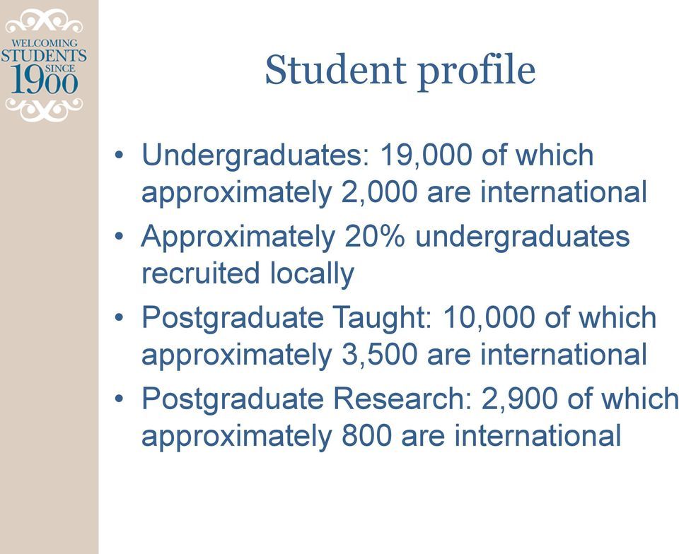 Postgraduate Taught: 10,000 of which approximately 3,500 are