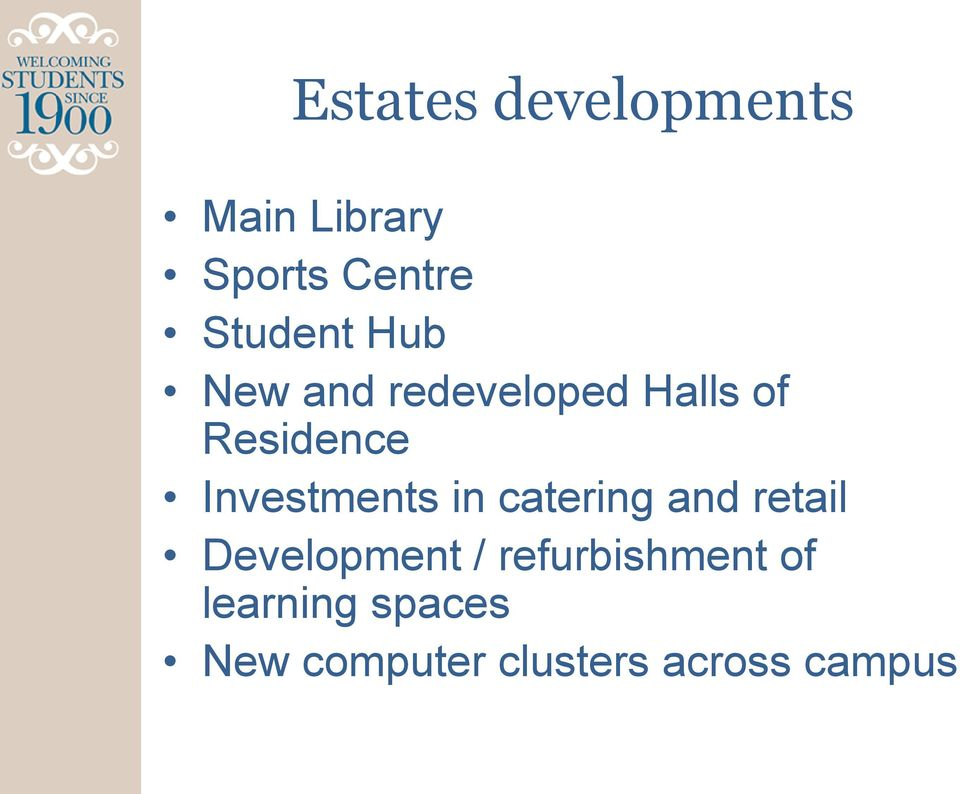 Investments in catering and retail Development /
