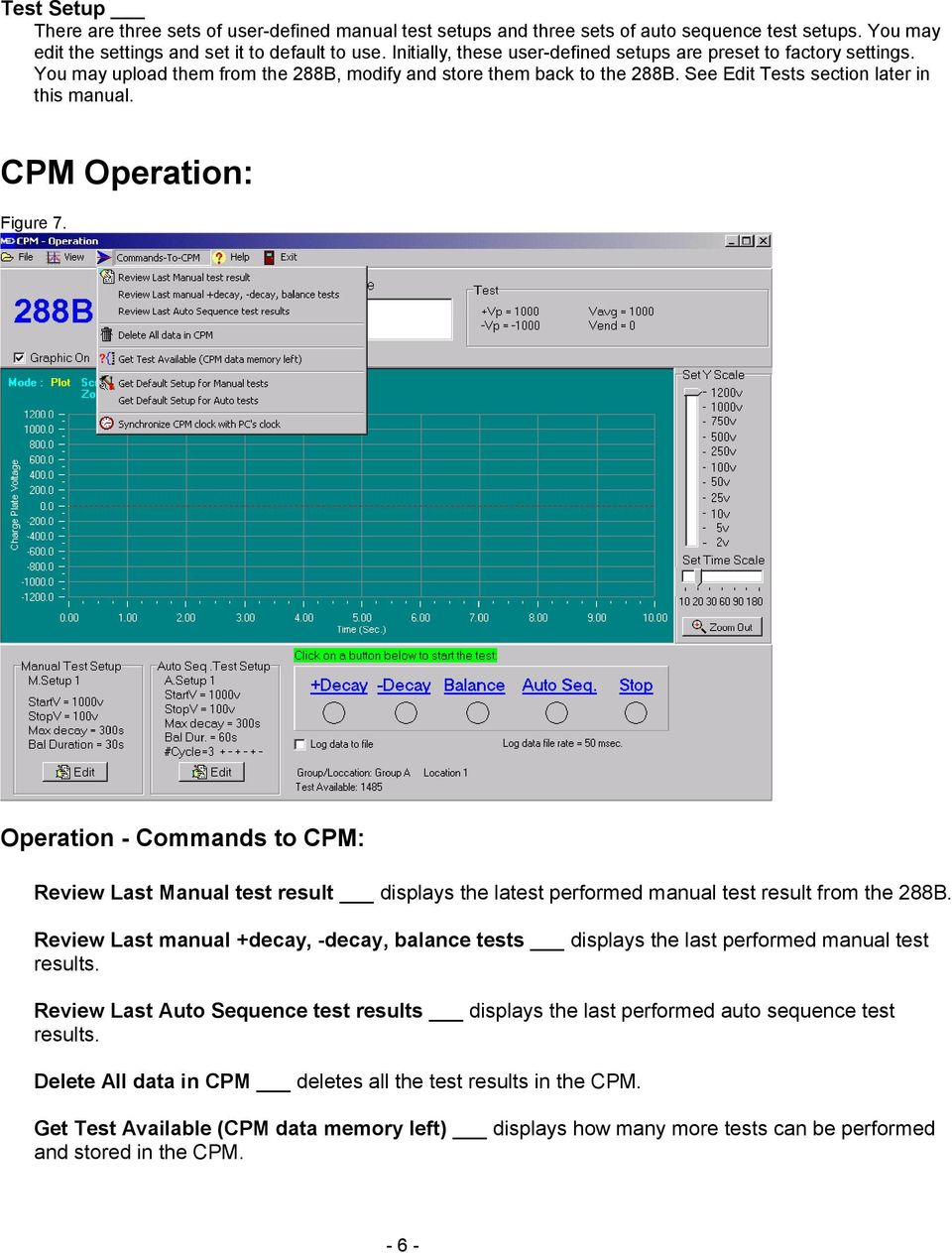CPM Operation: Figure 7. Operation - Commands to CPM: Review Last Manual test result displays the latest performed manual test result from the 288B.