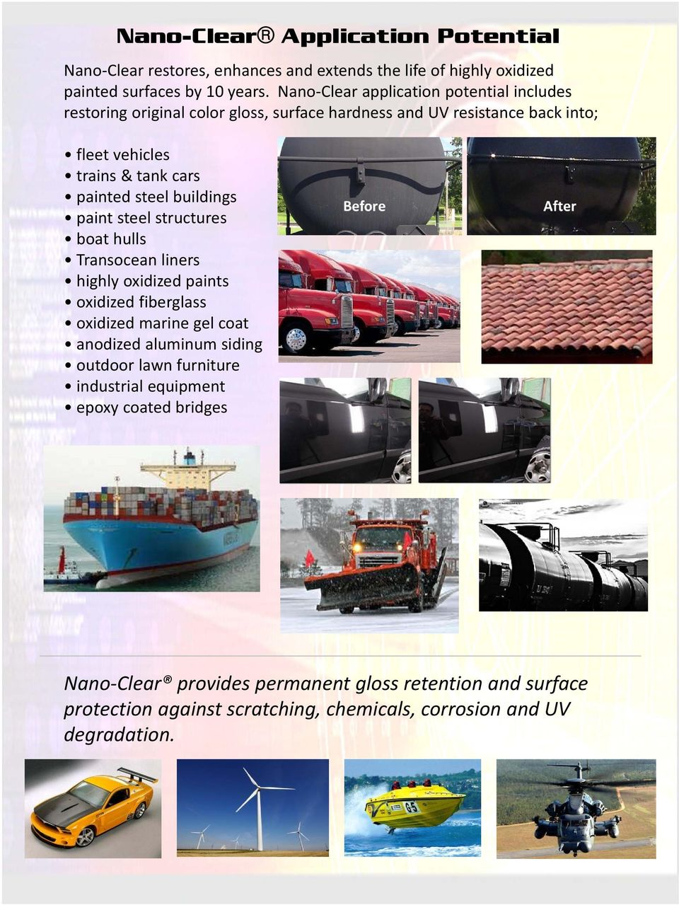 steel buildings paint steel structures boat hulls Transocean liners highly oxidized paints oxidized fiberglass oxidized marine gel coat anodized aluminum siding