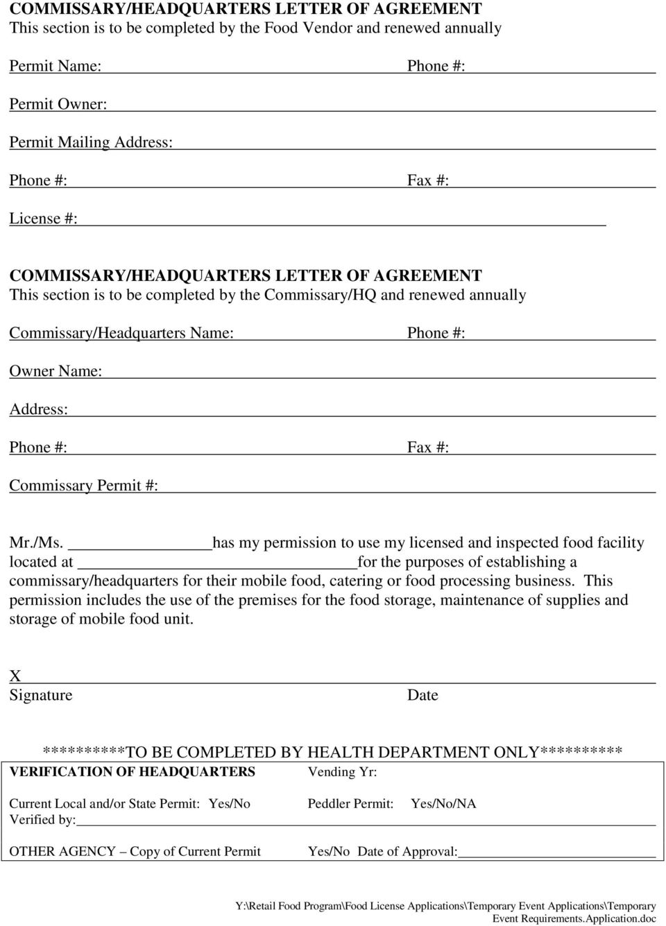 Commissary Permit #: Mr./Ms.