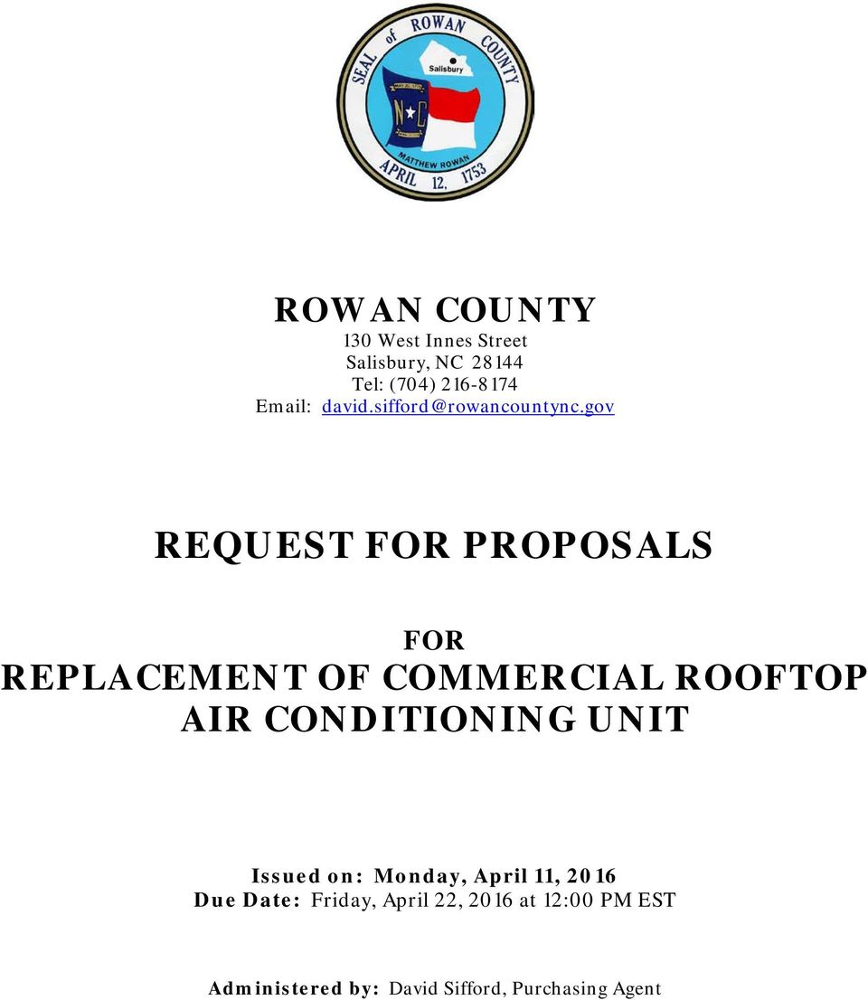 gov REQUEST FOR PROPOSALS FOR REPLACEMENT OF COMMERCIAL ROOFTOP AIR CONDITIONING