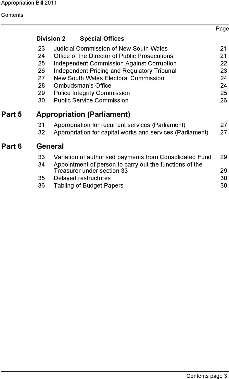 26 Part 5 Part 6 Appropriation (Parliament) 31 Appropriation for recurrent services (Parliament) 27 32 Appropriation for capital works and services (Parliament) 27 General 33 Variation of