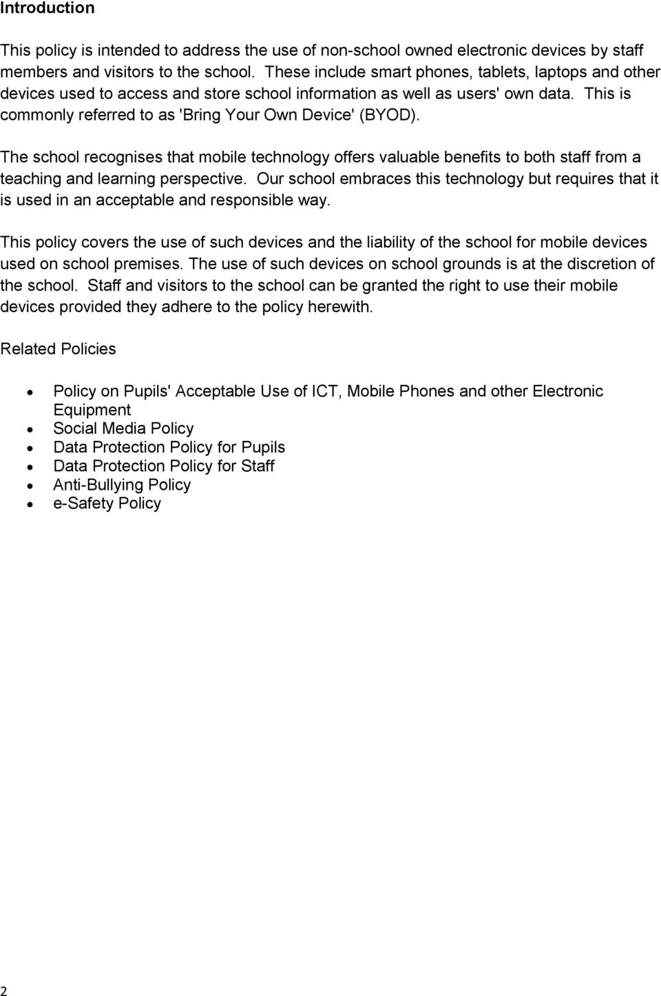 Bring Your Own Device (BYOD) for Staff and Visitors - PDF