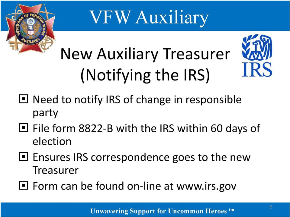 IRS within 60 days of election Ensures IRS correspondence