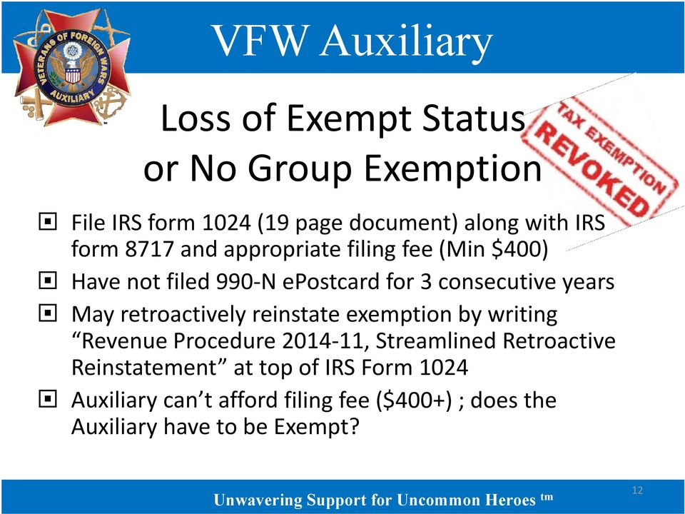 retroactively reinstate exemption by writing Revenue Procedure 2014 11, Streamlined Retroactive