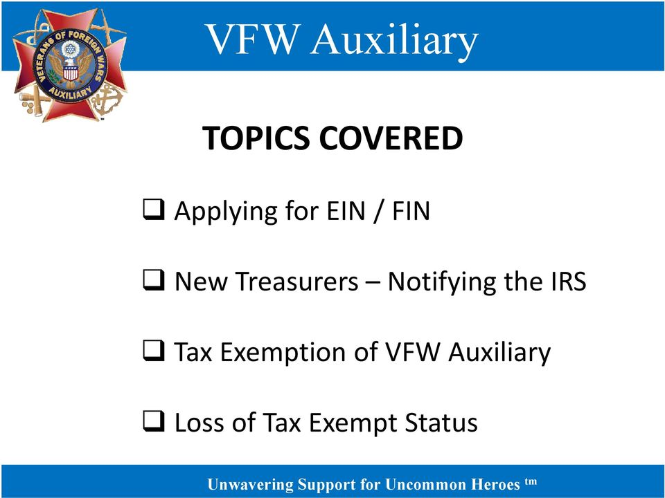 the IRS Tax Exemption of VFW