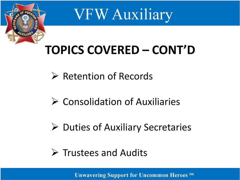 Consolidation of Auxiliaries