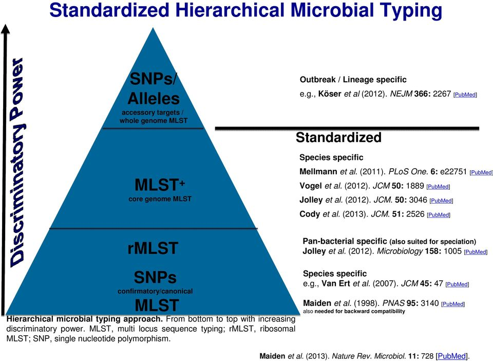 (2013). JCM. 51: 2526 [PubMed] rmlst SNPs confirmatory/canonical MLST Hierarchical microbial typing approach. From bottom to top with increasing discriminatory power.