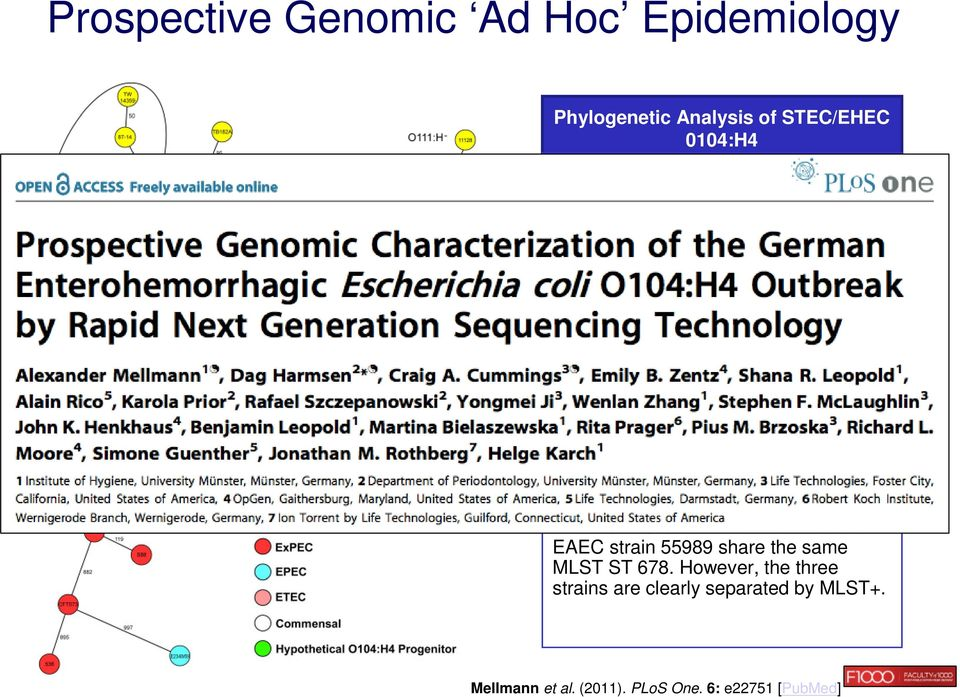 144 core genome genes and minimum-spanning tree Results Strain LB226692 (outbreak 2011) and strain 01-09591 (2001 German isolate causing historic HUS outbreak)