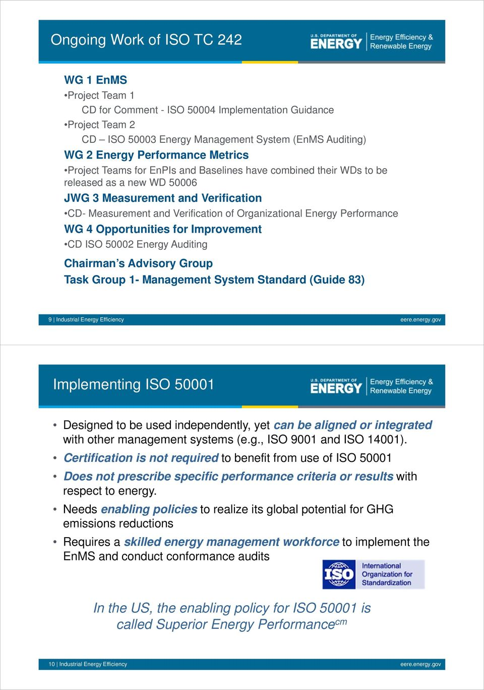 for Improvement CD ISO 50002 Energy Auditing Chairman s Advisory Group Task Group 1- Management System Standard (Guide 83) 9 Industrial Energy Efficiency eere.energy.