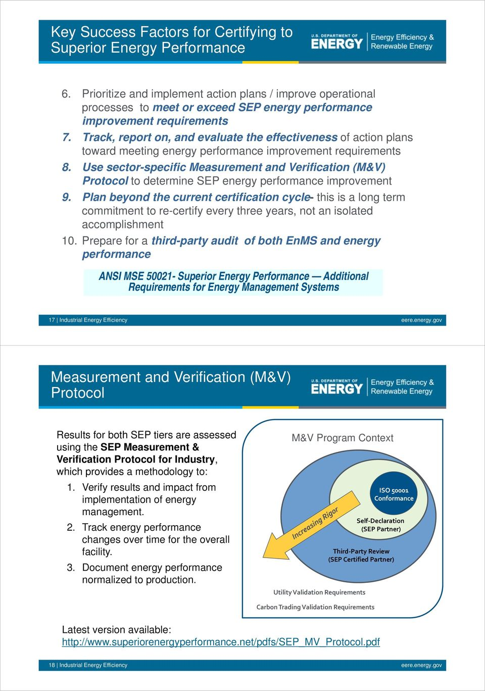 Use sector-specific Measurement and Verification (M&V) Protocol to determine SEP energy performance improvement 9.