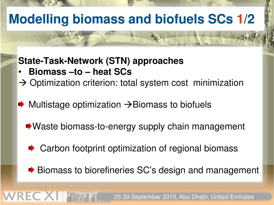 optimization Biomass to biofuels Waste biomass-to-energy supply chain management