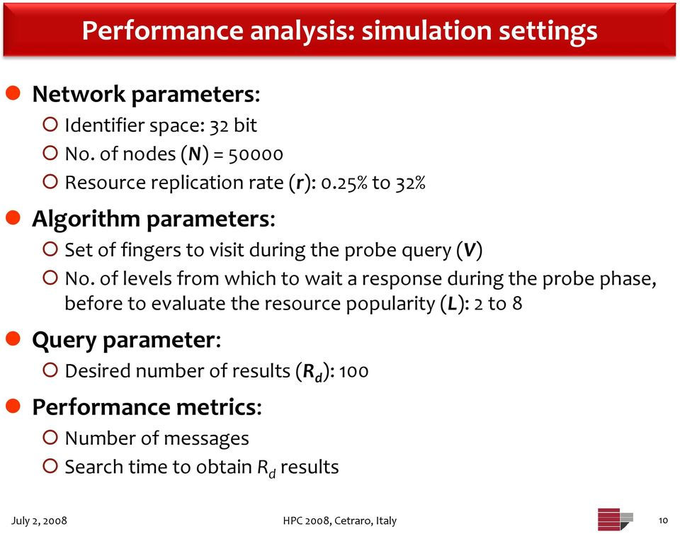 25% to 32% Algorithm parameters: Set of fingers to visit during the probe query (V) No.