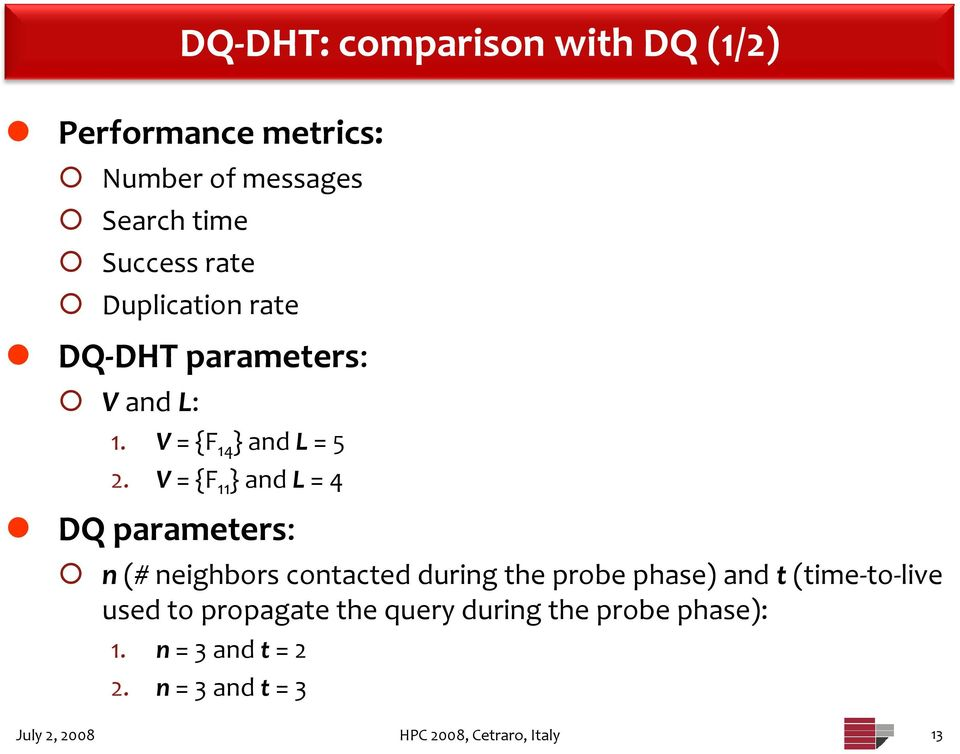 V = {F 11 } and L = 4 DQ parameters: n (# neighbors contacted during the probe phase) and t (time to
