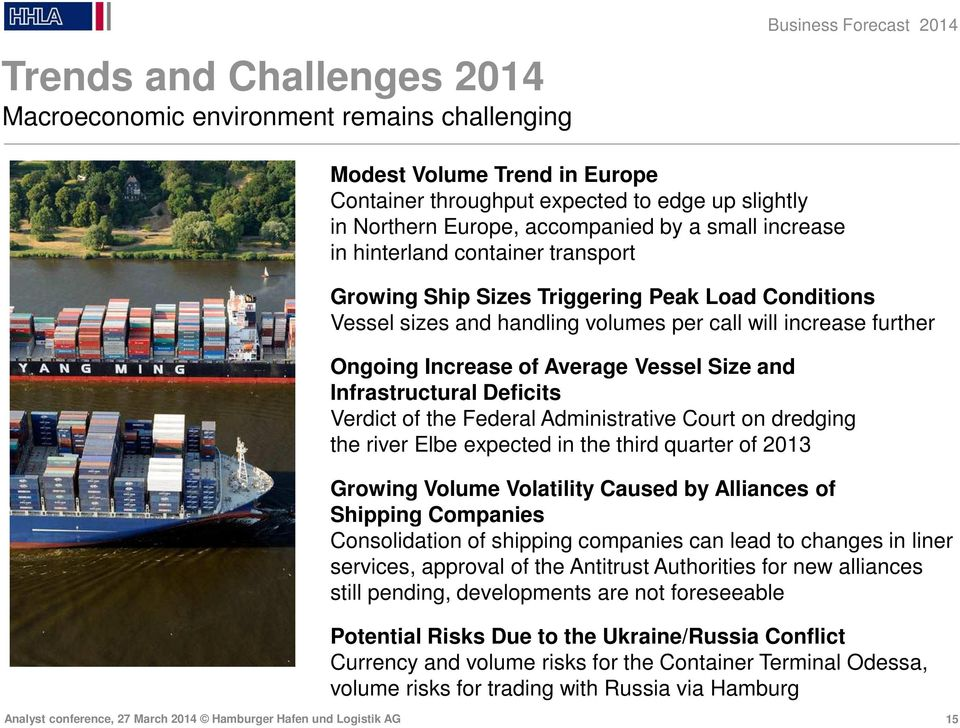 of Average Vessel Size and Infrastructural Deficits Verdict of the Federal Administrative Court on dredging the river Elbe expected in the third quarter of 2013 Growing Volume Volatility Caused by
